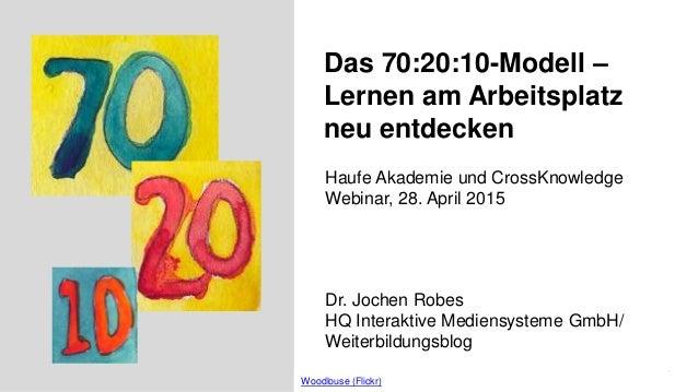 1 Das 70:20:10-Modell – Lernen am Arbeitsplatz neu entdecken Dr. Jochen Robes HQ Interaktive Mediensysteme GmbH/ Weiterbil...