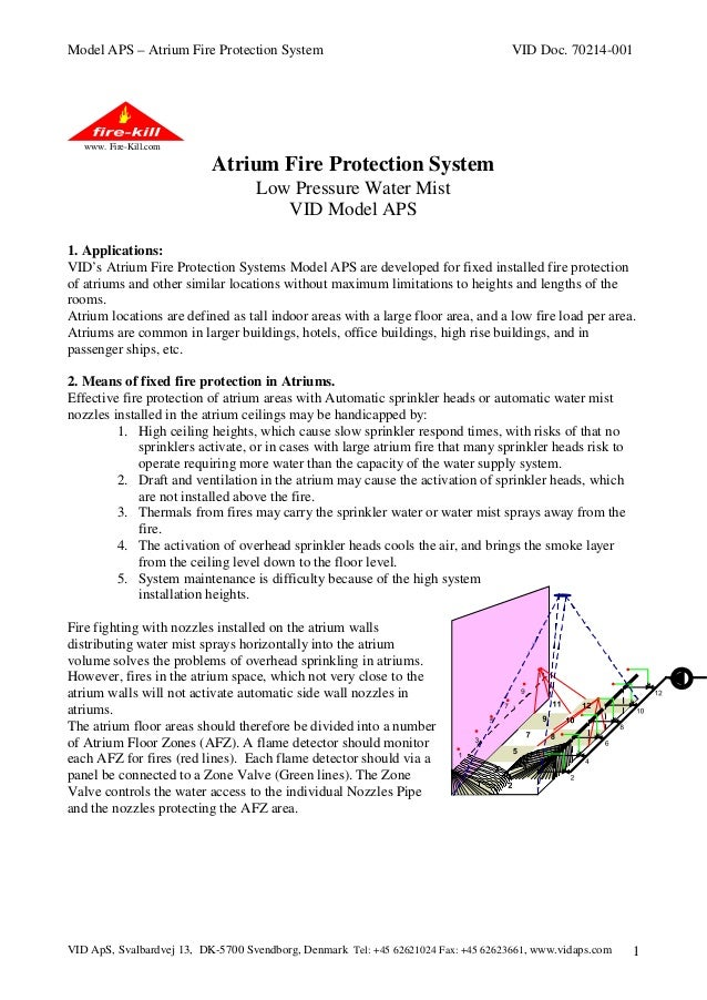 Model APS – Atrium Fire Protection System  VID Doc. 70214-001  www. Fire-Kill.com  Atrium Fire Protection System Low Press...