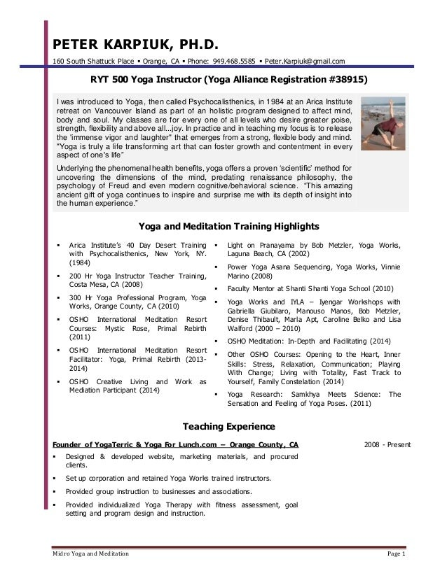Midro Yoga And Meditation Page 1 PETER KARPIUK, PH.  Yoga Resume
