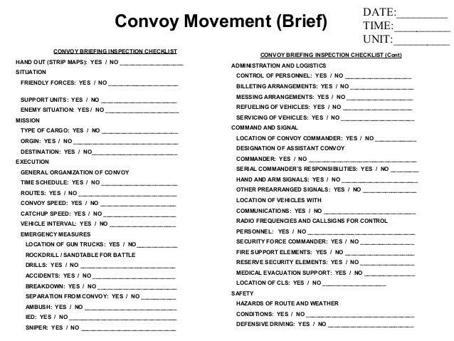 army convoy briefformat - 28 images - convoy leader handbook, sle ...