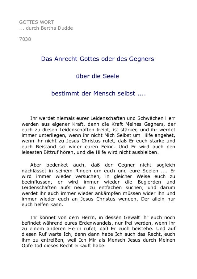 GOTTES WORT  ... durch Bertha Dudde  7038  Das Anrecht Gottes oder des Gegners  über die Seele  bestimmt der Mensch selbst...