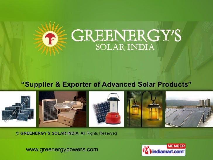 """"""" Supplier & Exporter of Advanced Solar Products"""""""
