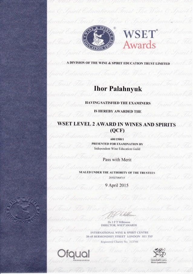 Wset Level2 Certificate Ihor Palahnyuk