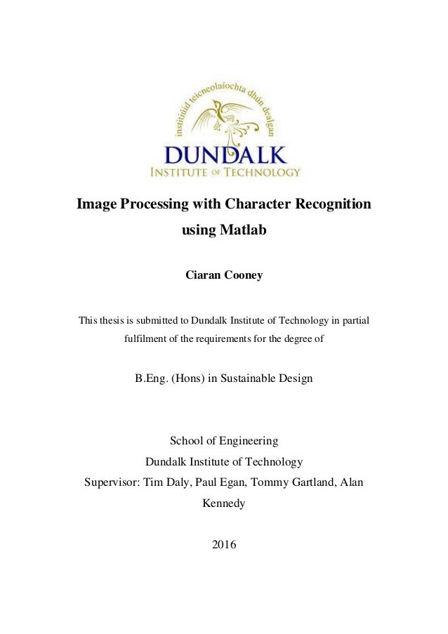 thesis on image processing using matlab