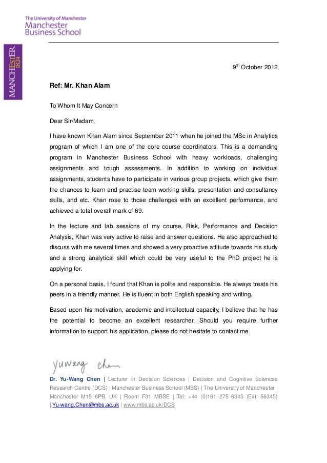 Reference Letter For Khan Alam 1