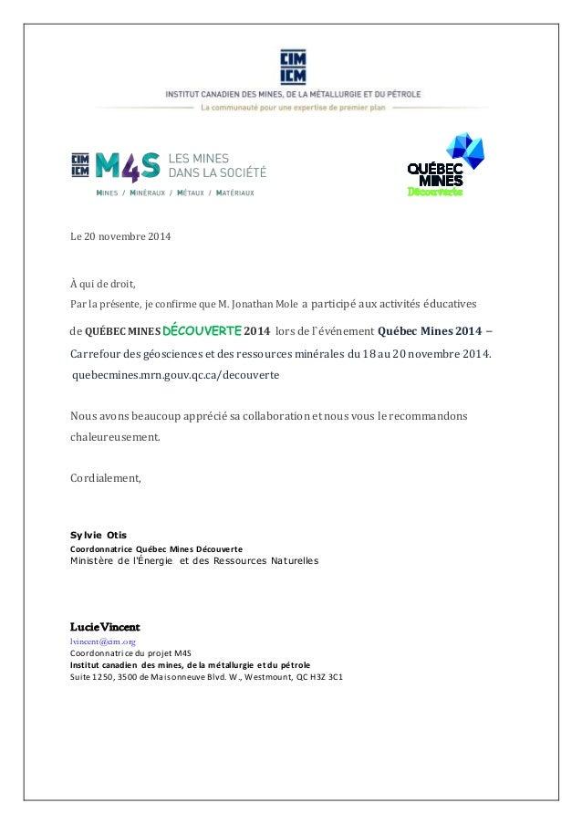 Jonathan Mole   Lettre de recommandation CIM QMD 2014