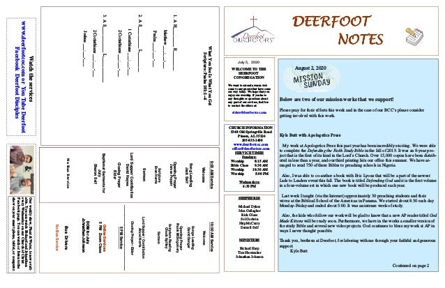 DEERFOOTDEERFOOTDEERFOOTDEERFOOT NOTESNOTESNOTESNOTES July 5, 2020 WELCOME TO THE DEERFOOT CONGREGATION We want to extend ...