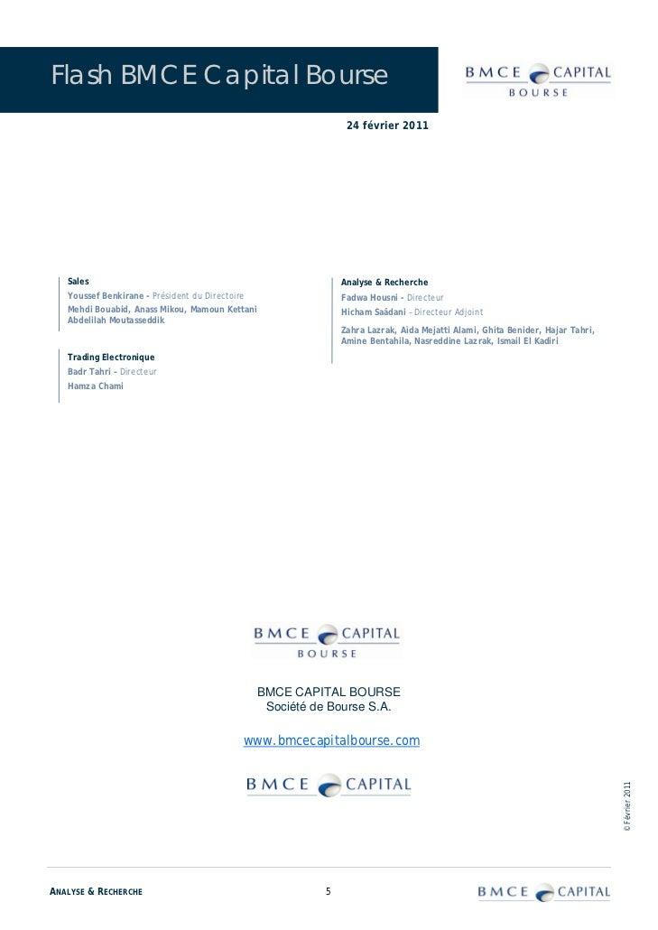 Flash BMCE Capital Bourse                                                                 24 février 2011   Sales         ...