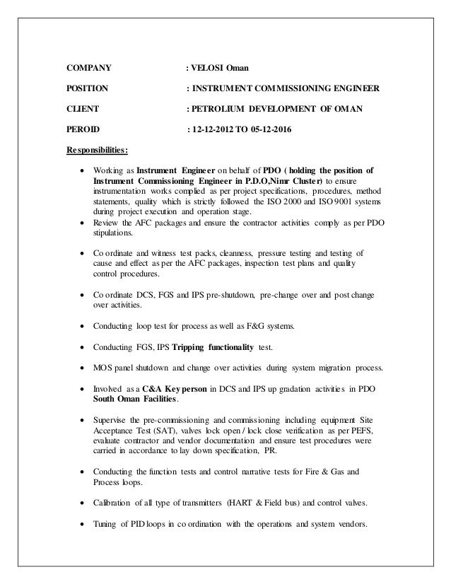 experience 2 company velosi oman position instrument commissioning engineer - Instrument Commissioning Engineer Sample Resume