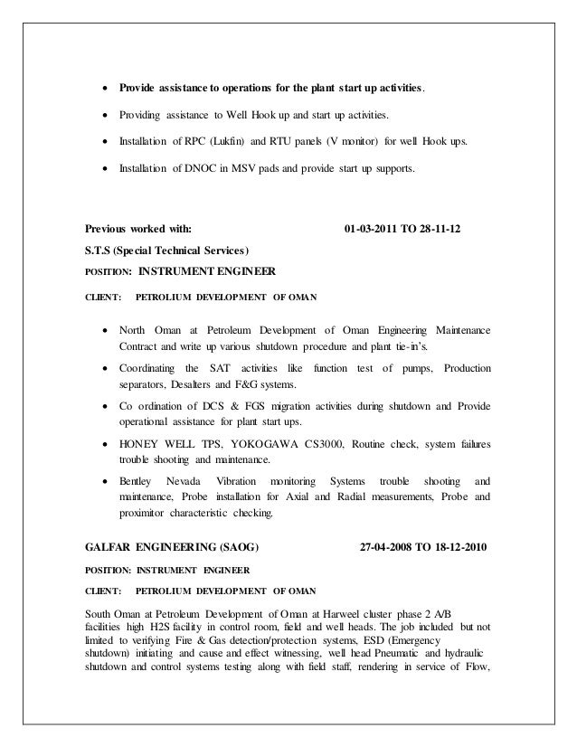 3 - Instrument Commissioning Engineer Sample Resume