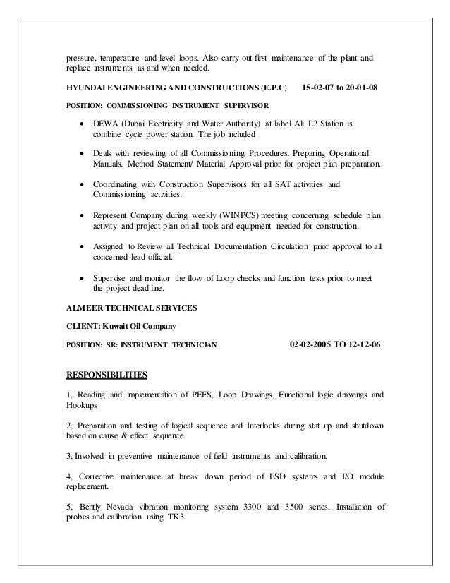 4 - Instrument Commissioning Engineer Sample Resume