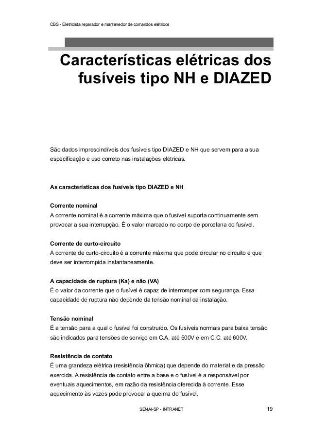 CBS - Eletricista reparador e mantenedor de comandos elétricos  Características elétricas dos  fusíveis tipo NH e DIAZED  ...