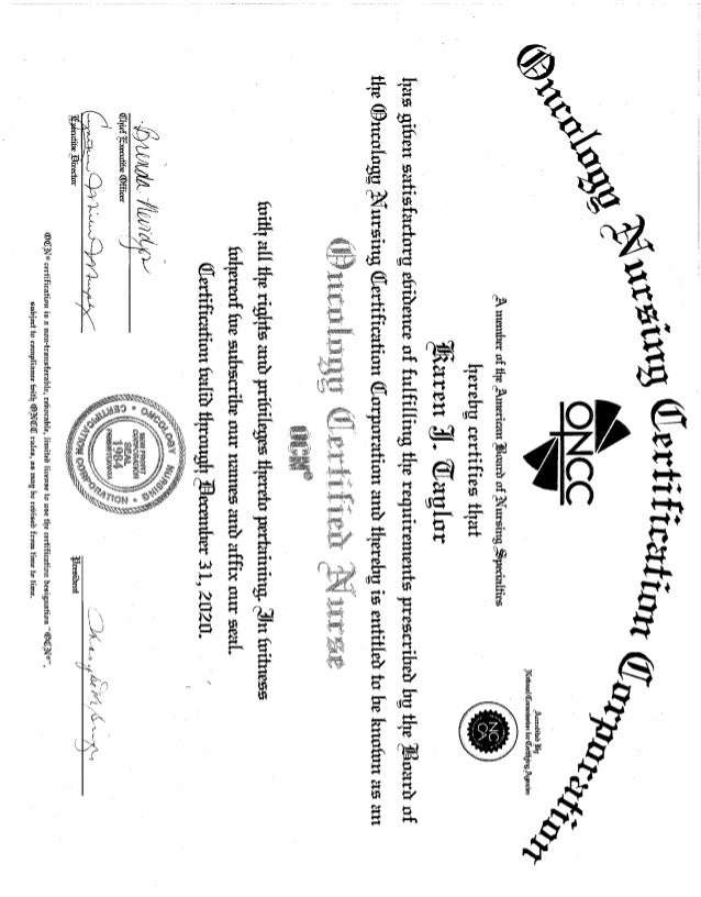 Oncology Nursing Certification Certificate