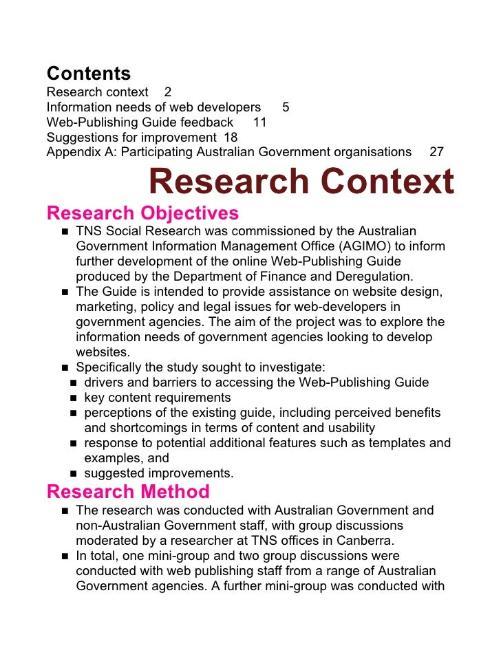 Contents Research context 2 Information needs of web developers     5 Web-Publishing Guide feedback 11 Suggestions for imp...