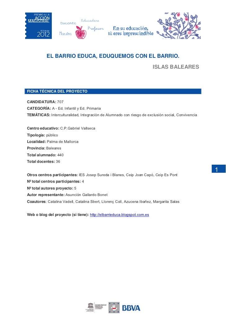 EL BARRIO EDUCA, EDUQUEMOS CON EL BARRIO.                                                                          ISLAS B...