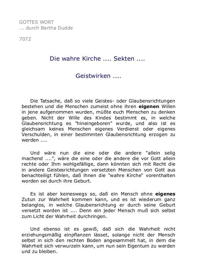 GOTTES WORT  ... durch Bertha Dudde  7072  Die wahre Kirche .... Sekten ....  Geistwirken ....  Die Tatsache, daß so viele...