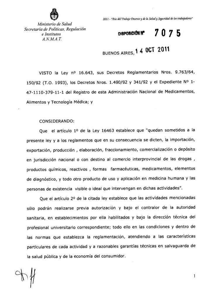 7075 11 iname   establece requisitos para registro de especialidades medicinales - an
