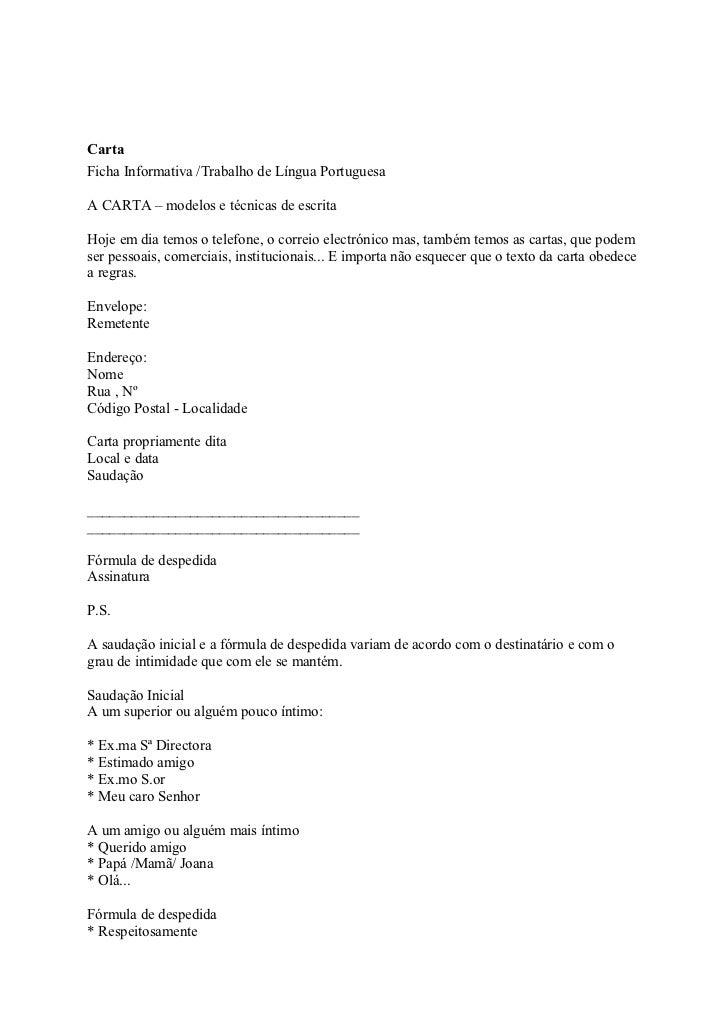 CartaFicha Informativa /Trabalho de Língua PortuguesaA CARTA – modelos e técnicas de escritaHoje em dia temos o telefone, ...
