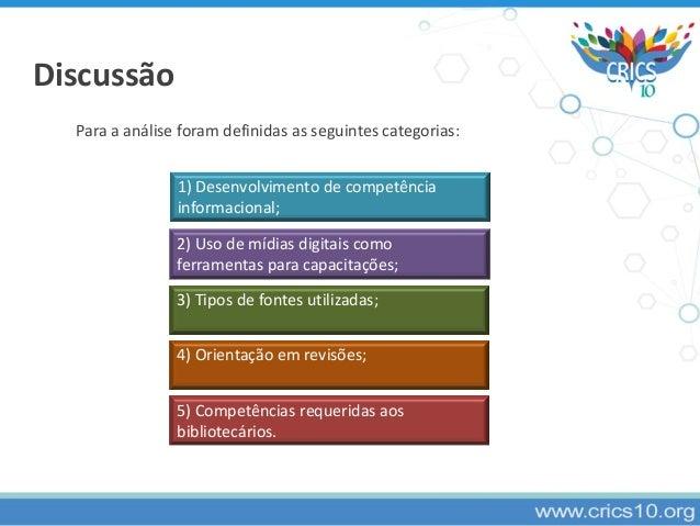 Discussão Para a análise foram definidas as seguintes categorias: 1) Desenvolvimento de competência informacional; 2) Uso ...