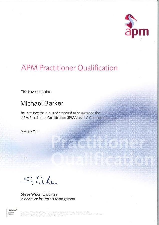 Apm Pq Ipma Level C Certificate M Barker