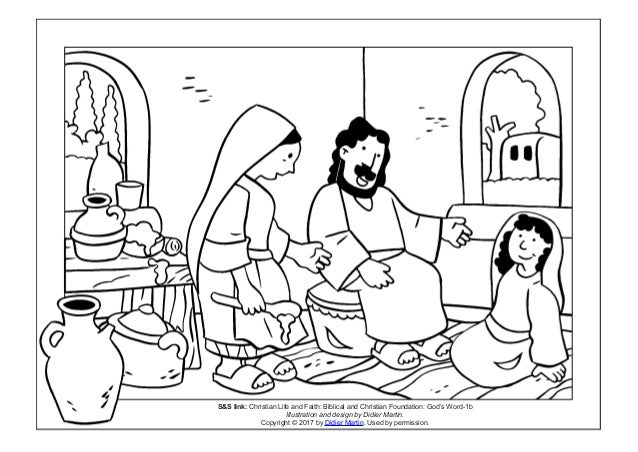 Coloring Page Meals With Jesus Martha And Mary SS Link Christian Life Faith Biblical Foundation Gods Word