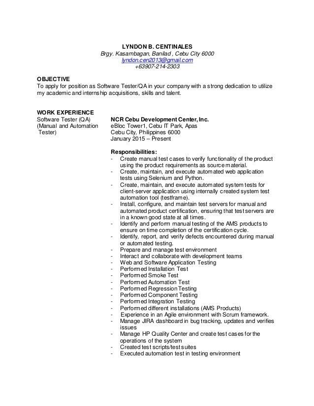 LYNDON B. CENTINALES Brgy. Kasambagan, Banilad , Cebu City 6000 lyndon.cen2013@gmail.com +63907-214-2303 OBJECTIVE To appl...