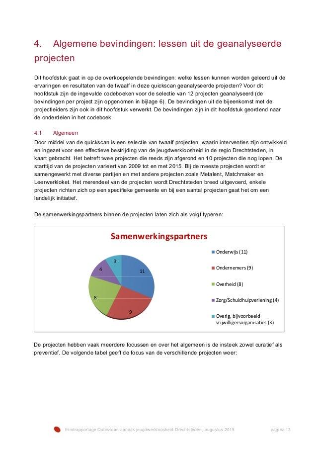 Eindrapportage Quickscan aanpak jeugdwerkloosheid Drechtsteden, augustus 2015 pagina 13 4. Algemene bevindingen: lessen ui...