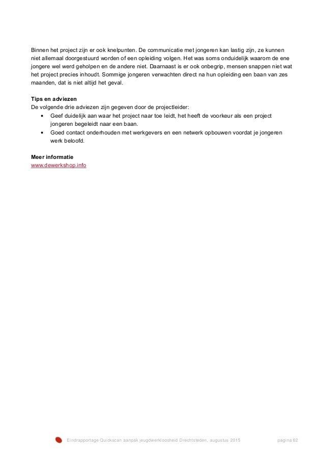 RAO-315.07.08 DEF Eindrapportage Quickscan JWL Arbeidsmarktregio Drechtsteden
