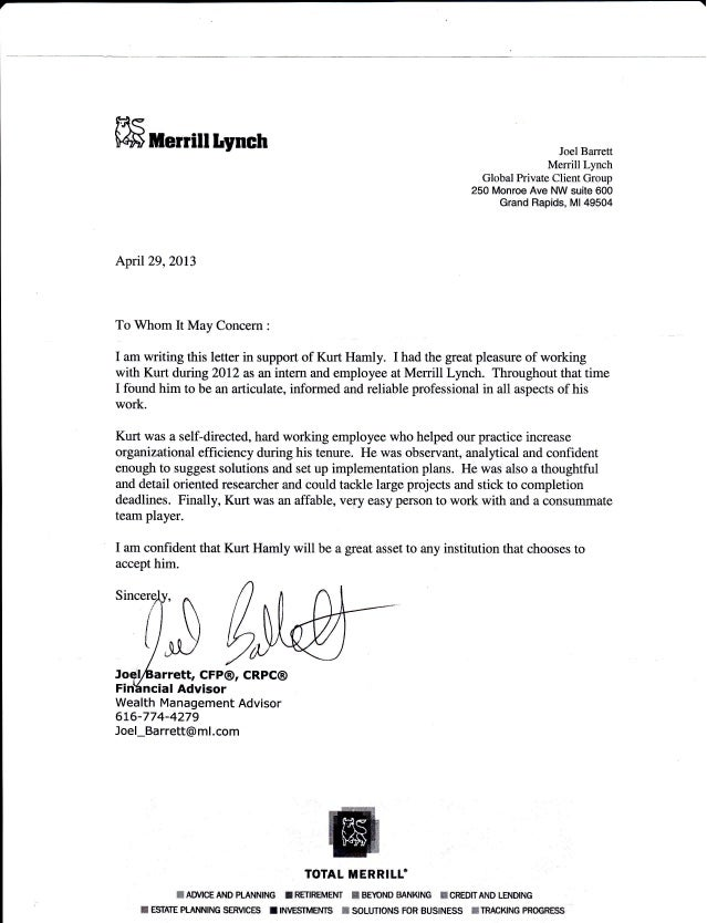 Letter Of Recommendation Merrill Lynch