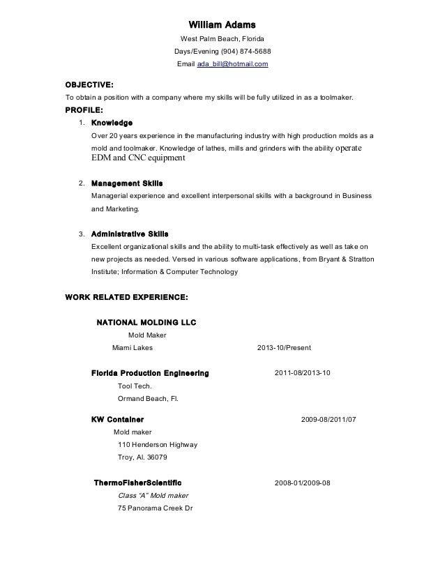 tool maker west palm resume .