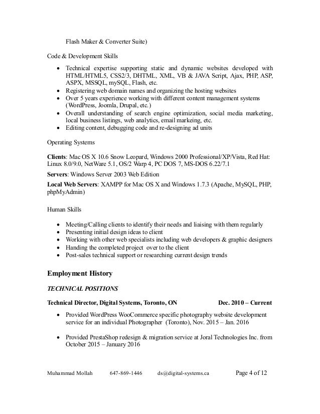 resume and cover letter of muhammad mollah