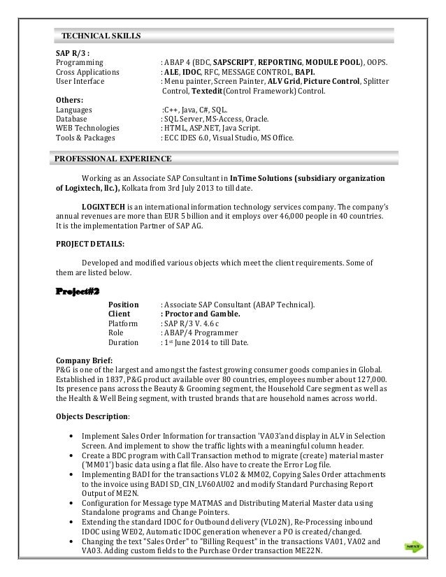 sample resume for sap abap 1 year of experience - anjan sap abap resume with pan card