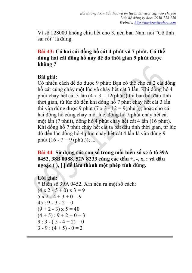 Bồi dưỡng toán tiểu học và ôn luyện thi vượt cấp vào chuyên Liên hệ đăng ký học: 0936.128.126 Website: http://daytoantieuh...