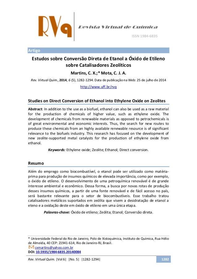 Rev. Virtual Quim. |Vol 6| |No. 5| |1282-1294| 1282 Artigo Estudos sobre Conversão Direta de Etanol a Óxido de Etileno sob...