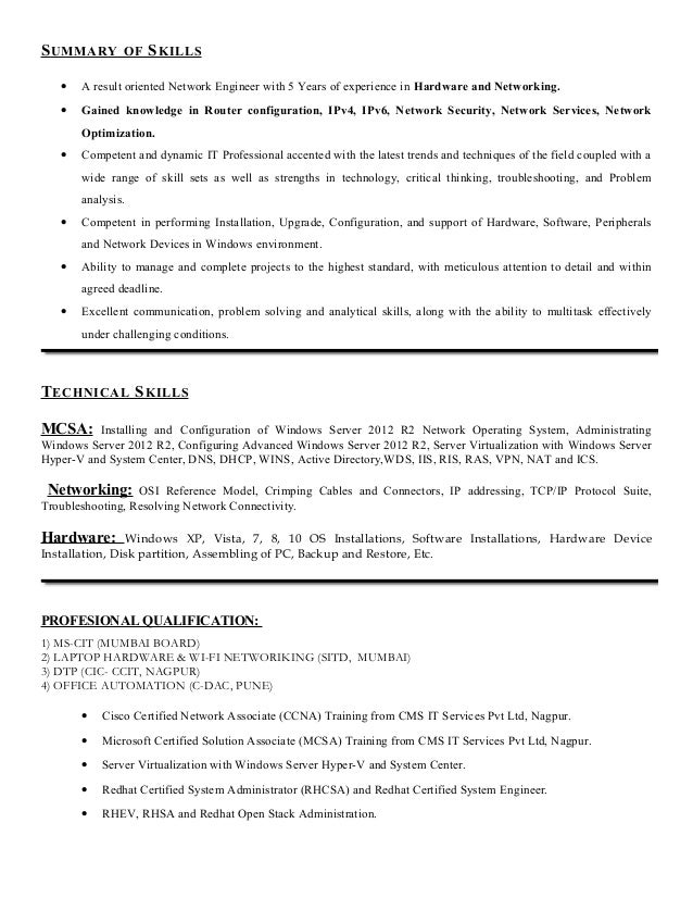 Server Administrator Resume Format Sample Resume For An Experienced Systems Administrator  Resumes Database Administrator Resume Database