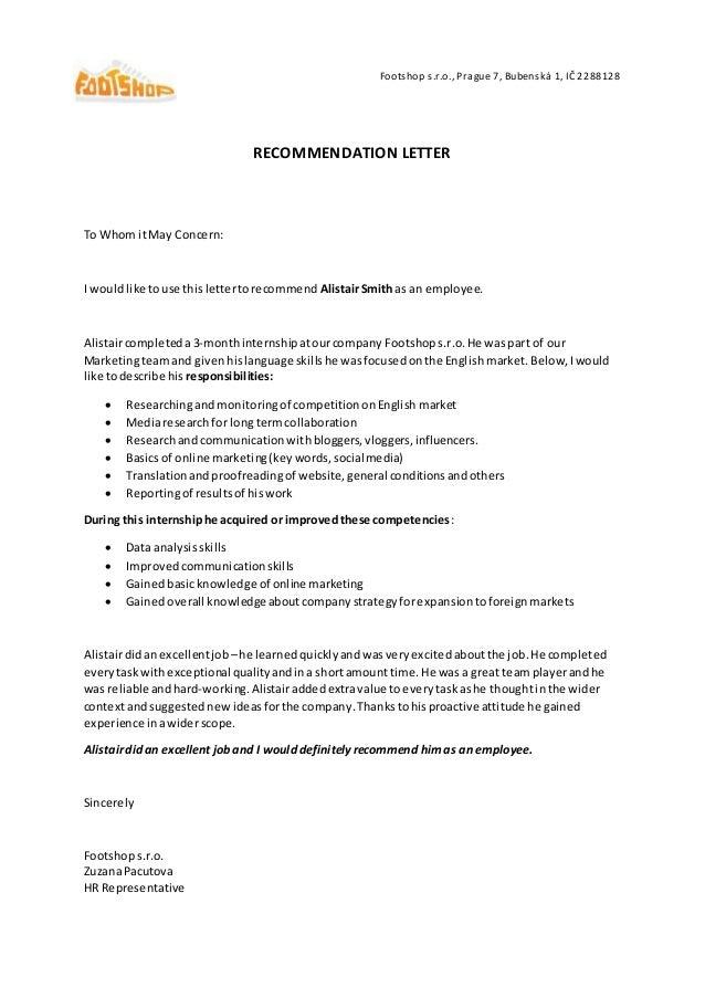 Footshop Recommendation Letter