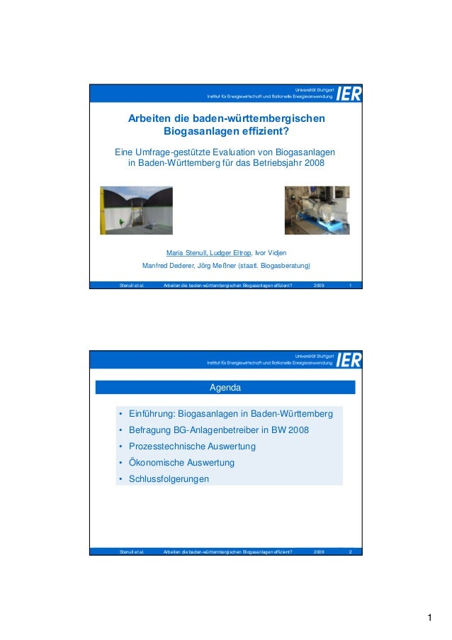 1 Stenull et al. 2009Arbeiten die baden-württembergischen Biogasanlagen effizient? 1 Arbeiten die baden-württembergischen ...