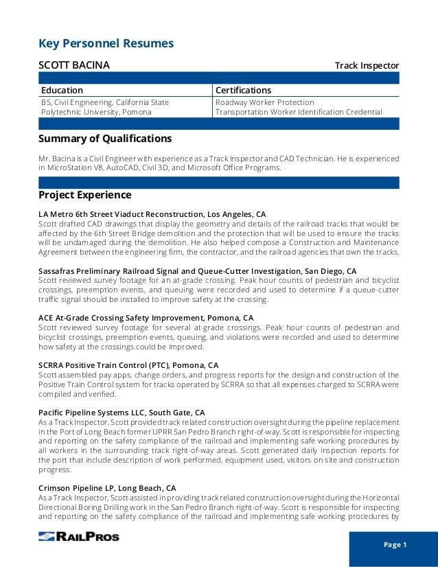 Scott Bacina Project Resume