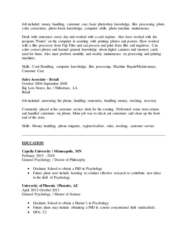 customer service cash handling resume