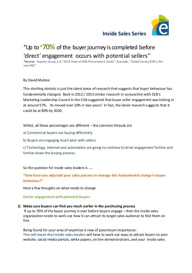 Inside Sales Series ''Up to*70% ofthe buyerjourneyiscompleted before 'direct' engagement occurs with potential sellers'' *...