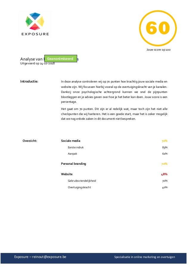 Exposure – reinout@exposure.be Specialisatie in online marketing en overtuigen Analyse van PCLT – Geert Chys Uitgevoerd op...