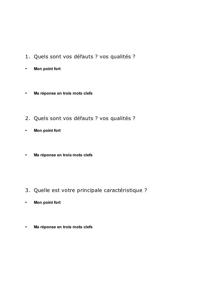 Quels Sont Les Defauts #11: ... Questions Essentielles; 2. 1. Quels Sont Vos Défauts ? ...