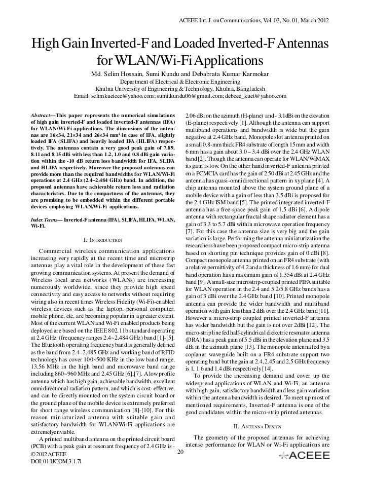 ACEEE Int. J. on Communications, Vol. 03, No. 01, March 2012High Gain Inverted-F and Loaded Inverted-F Antennas           ...