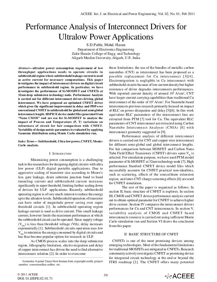ACEEE Int. J. on Electrical and Power Engineering, Vol. 02, No. 01, Feb 2011     Performance Analysis of Interconnect Driv...