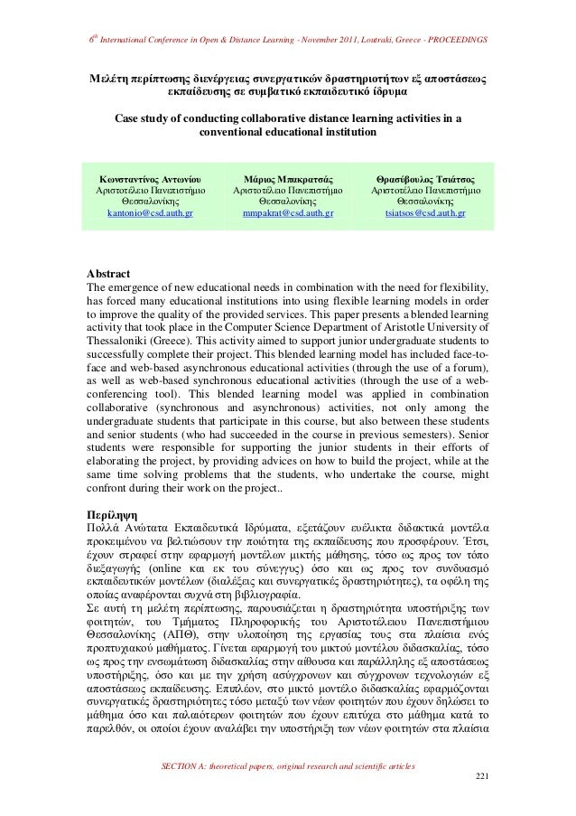 6thInternational Conference in Open & Distance Learning - November 2011, Loutraki, Greece - PROCEEDINGSSECTION A: theoreti...