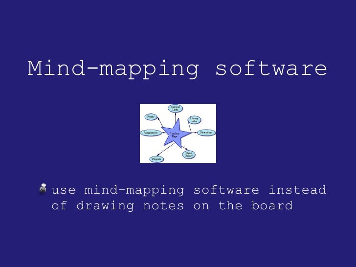 Mind-mapping software <ul><li>use mind-mapping software instead of drawing notes on the board </li></ul>