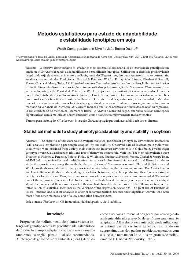 Métodos estatísticos para estudo de adaptabilidade e estabilidade                                   23                   M...