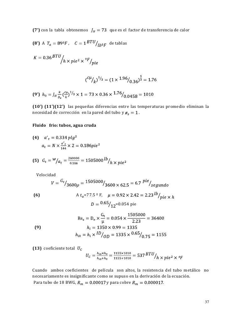 (7') con la tabla obtenemos               que es el factor de transferencia de calor(8') A            ,                   ...