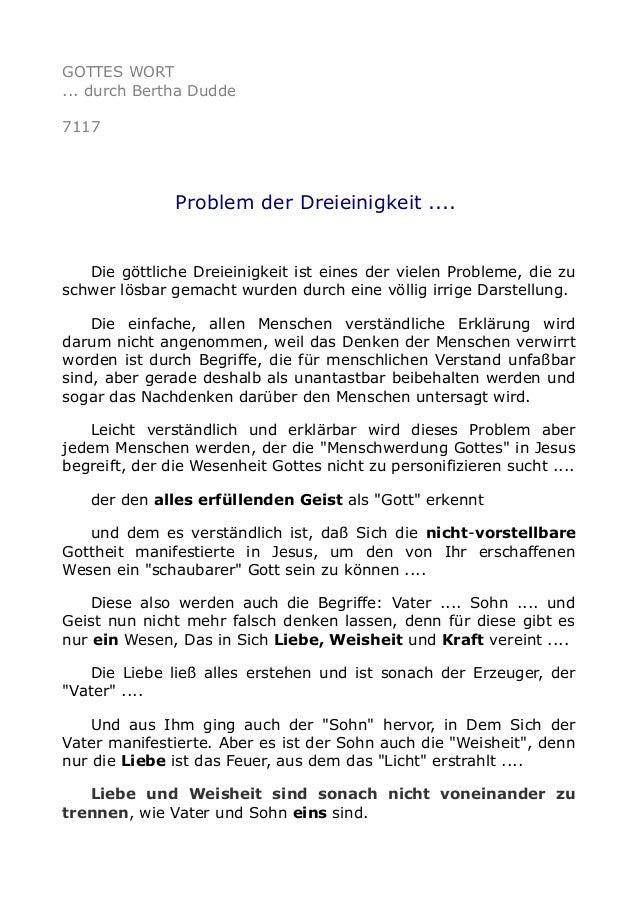 GOTTES WORT ... durch Bertha Dudde 7117 Problem der Dreieinigkeit .... Die göttliche Dreieinigkeit ist eines der vielen Pr...