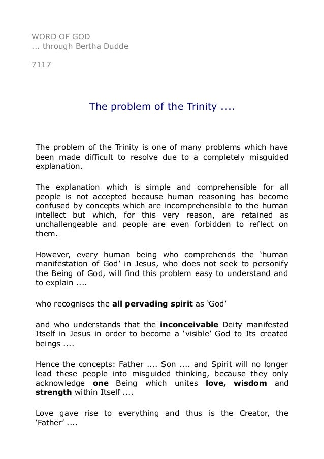 7117 The problem of the Trinity ....